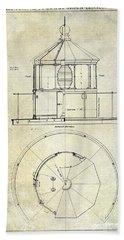 Lighthouse Lantern Order Blueprint Antique Bath Towel