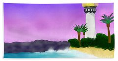 Lighthouse On Beach Hand Towel