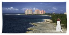 Lighthouse On Colonial Beach With Atlantis Paradise Resort Bahamas Hand Towel