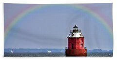 Lighthouse On The Bay Bath Towel by Brian Wallace