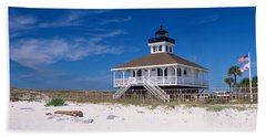 Lighthouse On The Beach, Port Boca Hand Towel by Panoramic Images