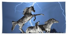 Lightning At Horse World Bw Color Print Bath Towel