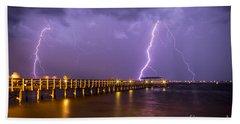 Lightning At The Pier Bath Towel