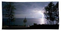 Lightning On Lake Michigan At Night Bath Towel