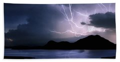 Lightning Over Quartz Mountains - Oklahoma Bath Towel