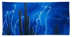 Lightning  Over The Sonoran Bath Towel