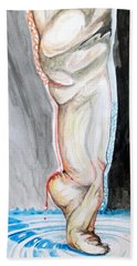 Bath Towel featuring the painting Lightweight Of The Being Listen With Music Of The Description Box by Lazaro Hurtado