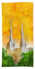 Hand Towel featuring the painting Like A Fire Is Burning by Greg Collins