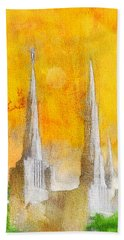 Bath Towel featuring the painting Like A Fire Is Burning - Panoramic by Greg Collins