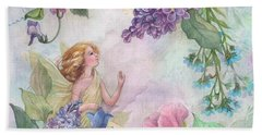 Hand Towel featuring the painting Lilac Enchanting Flower Fairy by Judith Cheng