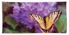 Lilacs And Swallowtail Butterfly Purple Flowers Garden Decor Painting  Bath Towel