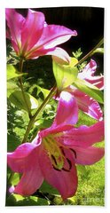 Lilies In The Garden Bath Towel by Sher Nasser