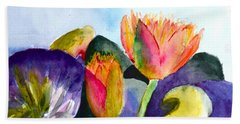 Lilies Of The Water Hand Towel by Beverley Harper Tinsley