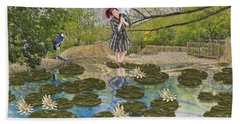 Lilly Pad Lane Hand Towel by Liane Wright