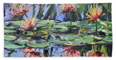 Lily Pond Reflections Hand Towel by Donna Tuten