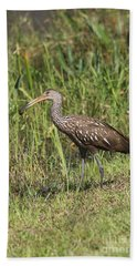 Bath Towel featuring the photograph Limpkin With Apple Snail by Christiane Schulze Art And Photography