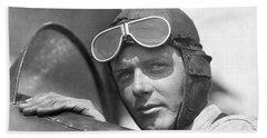 Lindbergh In Cockpit Hand Towel