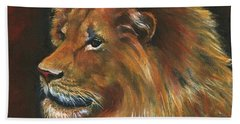 Hand Towel featuring the painting Lion by Alga Washington
