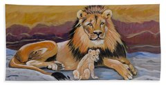 Hand Towel featuring the painting Lion And Cub by Phyllis Kaltenbach