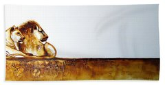Lion And Lioness - Original Artwork Bath Towel