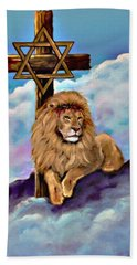 Bath Towel featuring the painting Lion Of Judah At The Cross by Bob and Nadine Johnston