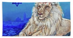 Lion Of Judah - Jerusalem Hand Towel by Bob and Nadine Johnston