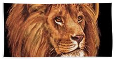 Lion Of Judah - Menorah Hand Towel by Bob and Nadine Johnston