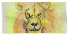 Lion Yellow Hand Towel by First Star Art