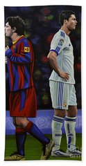 Lionel Messi And Cristiano Ronaldo Hand Towel by Paul Meijering