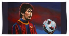 Lionel Messi 2 Hand Towel by Paul Meijering