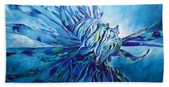 Lionfish Abstract Blue Hand Towel
