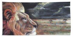 Hand Towel featuring the pastel Lions Domain by Peter Suhocke