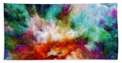 Hand Towel featuring the digital art Liquid Colors - Enamel Edition by Lilia D