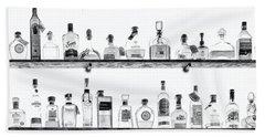 Liquor Bottles - Black And White Hand Towel