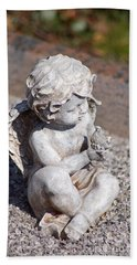 Little Angel With Bird In His Hand - Sculpture Hand Towel