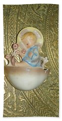 Newborn Boy In The Baptismal Font Sculpture Hand Towel