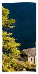 Little Chapel In Ticino With Beautiful Green Trees Hand Towel by Matthias Hauser