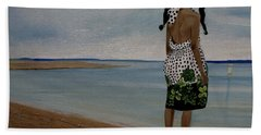 Little Girl On The Beach Hand Towel by Chelle Brantley