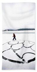 Little Girl Walking Around Large Design Hand Towel