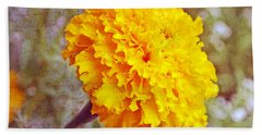 Hand Towel featuring the photograph Little Golden  Marigold by Kay Novy