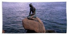 Little Mermaid Statue On Waterfront Hand Towel