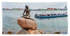 Little Mermaid Statue With Tourboat Hand Towel