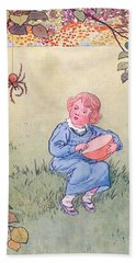 Little Miss Muffet Hand Towel by Leonard Leslie Brooke