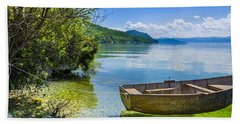 Bath Towel featuring the photograph Little Wooden Boat by Sotiris Filippou