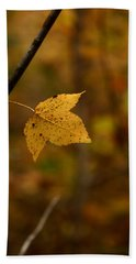 Little Yellow Leaf Bath Towel by Karen Harrison