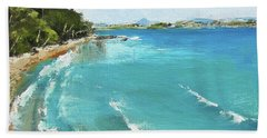 Bath Towel featuring the painting Litttle Cove Beach Noosa Heads Queensland Australia by Chris Hobel