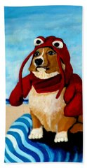 Lobster Corgi On The Beach Hand Towel