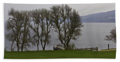 Loch Ness And Boat Jetty Next To Urquhart Castle Bath Towel