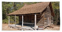 Hand Towel featuring the photograph Log Cabin by Charles Beeler