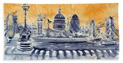 London By Night Hand Towel by Kovacs Anna Brigitta